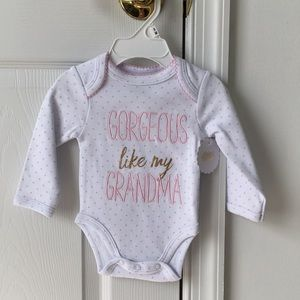 """Gorgeous like my grandma"" onesie"